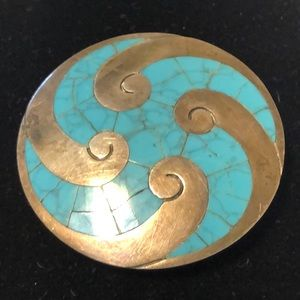 TAXCO TURQUOISE INLAY .925 PENDANT BROOCH
